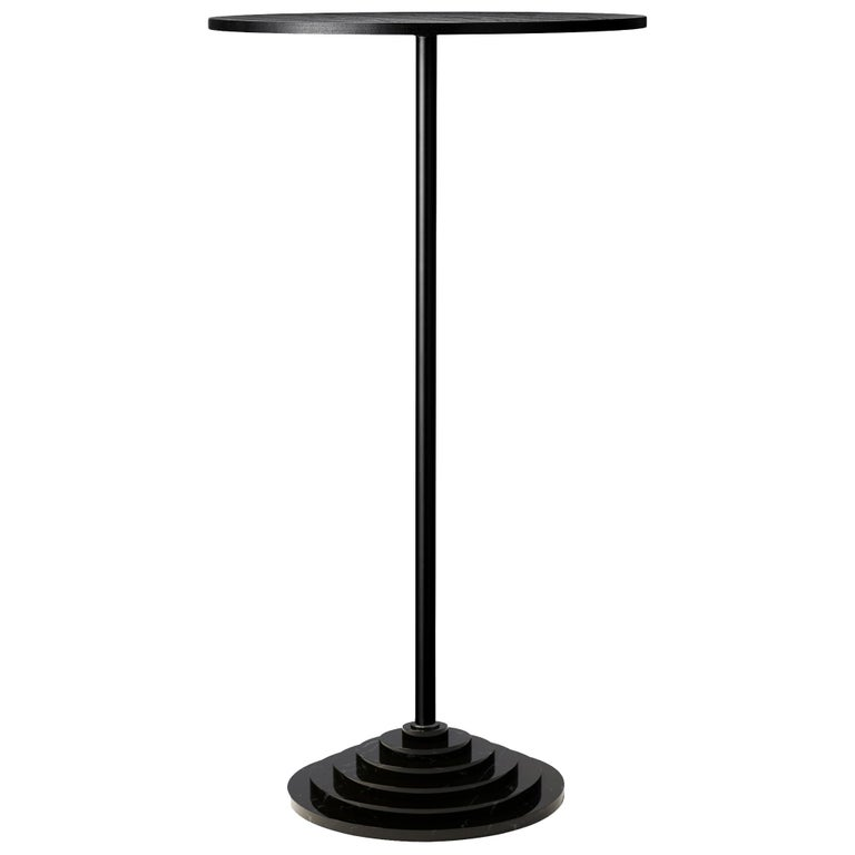 Danish Black Marble Base and Steel Side Table For Sale