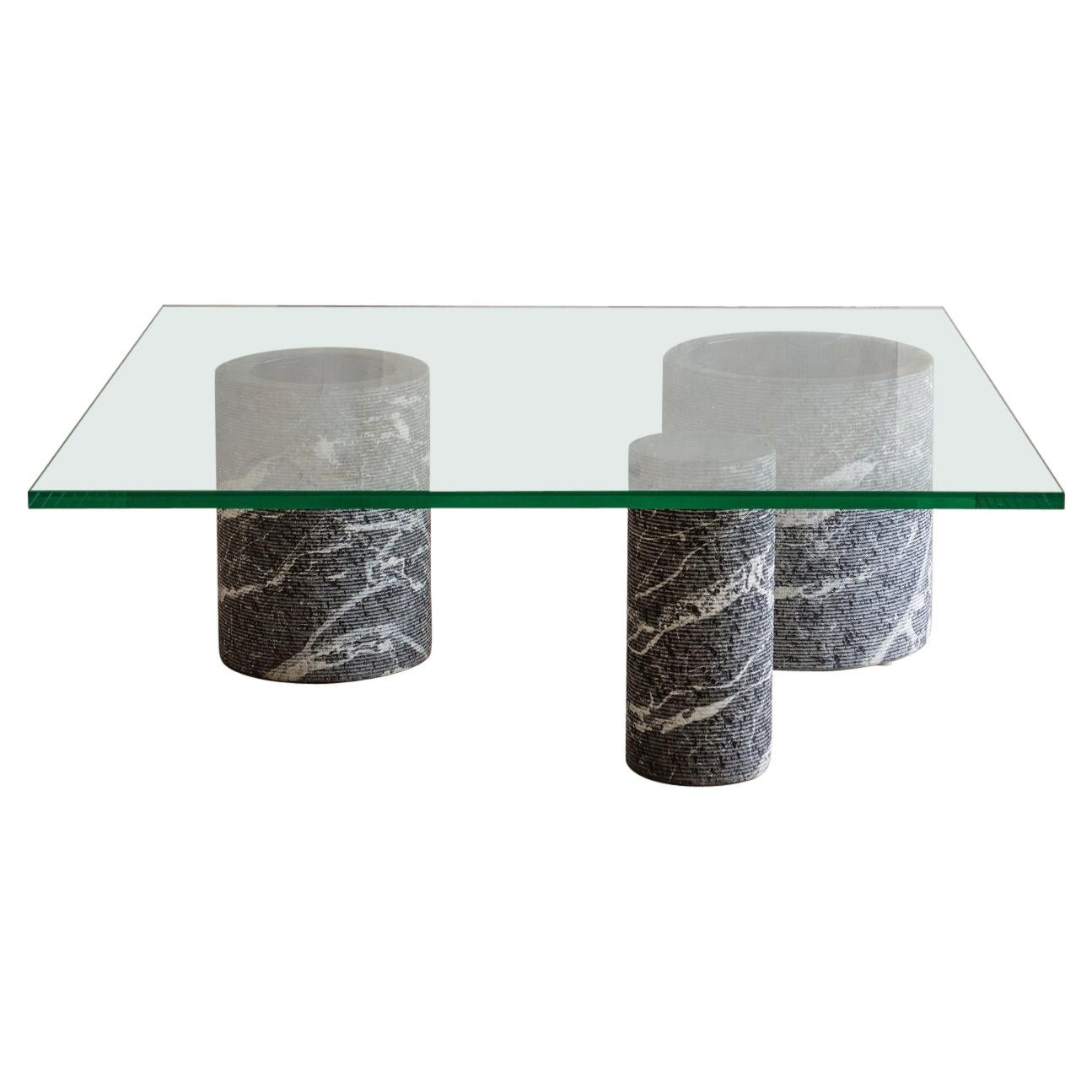 Black Marble Base Coffee Table by Massimo Vignelli for Casigliani