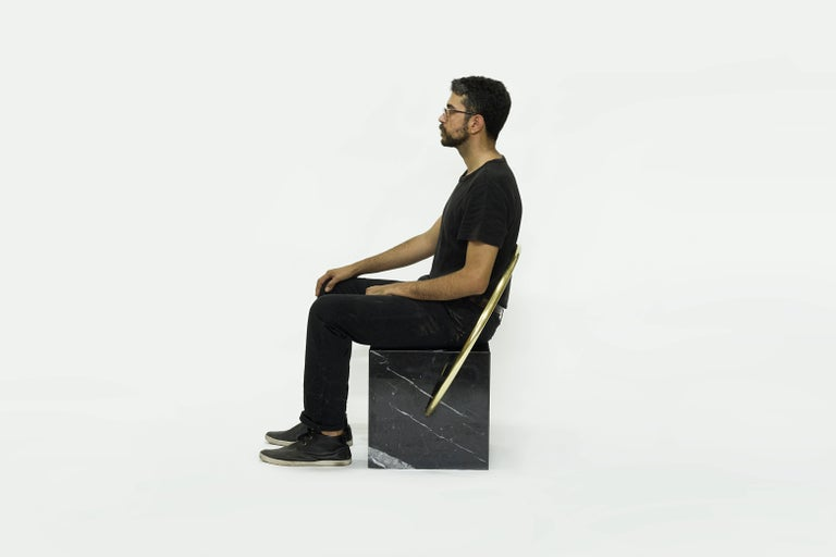 Brazilian Stool in Black Marble and Brass, Limited Edition by O Formigueiro For Sale