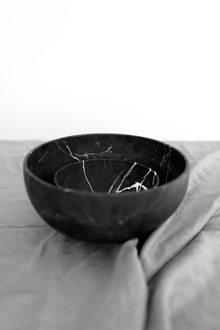 Bowl in carved Monterrey black marble. Handmade in Mexico by local craftsmen.