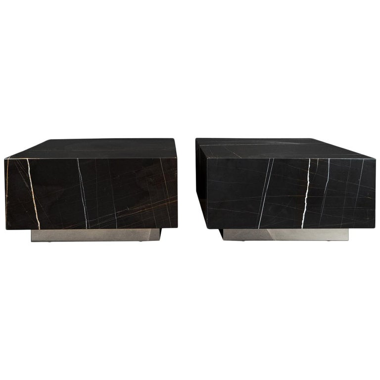 Black Marble Cocktail Table Pair For Sale