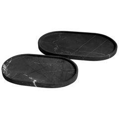 Black Marble Elipse Plates Set