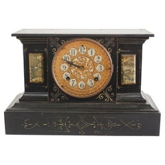 Black Marble / Gilt Ansonian Desk / Mantel Clock