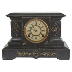 Black Marble / Gilt Ansonian Mantel / Desk Clock