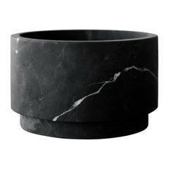 Black Marble Low Pedestal Cylinder