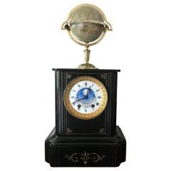 Black Marble Moonphase Rotating Globe Clock Edouard Serin, Paris, circa 1880