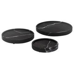 Black Marble Plates Set