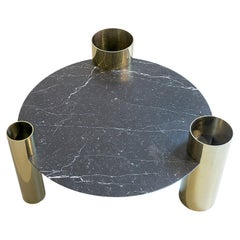 Black Marble Round Coffee Table Brass Legs