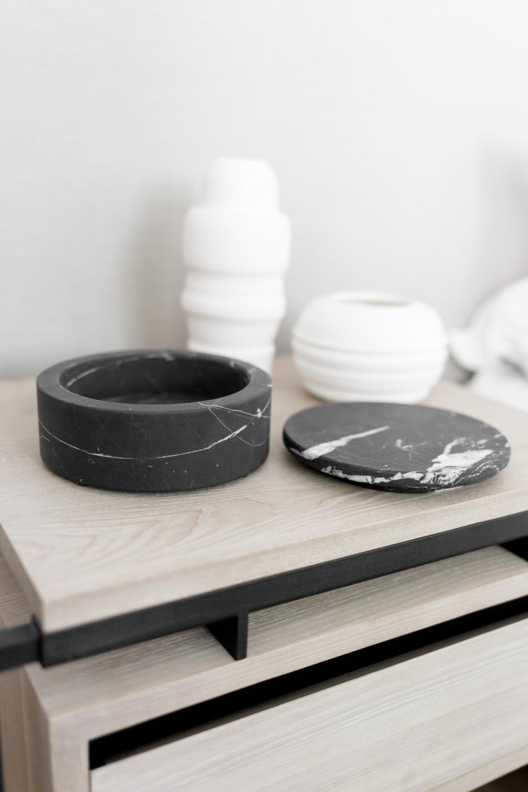 Hand-Crafted Black Marble Round Jewelry Box For Sale