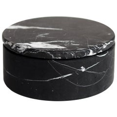 Black Marble Round Jewelry Box