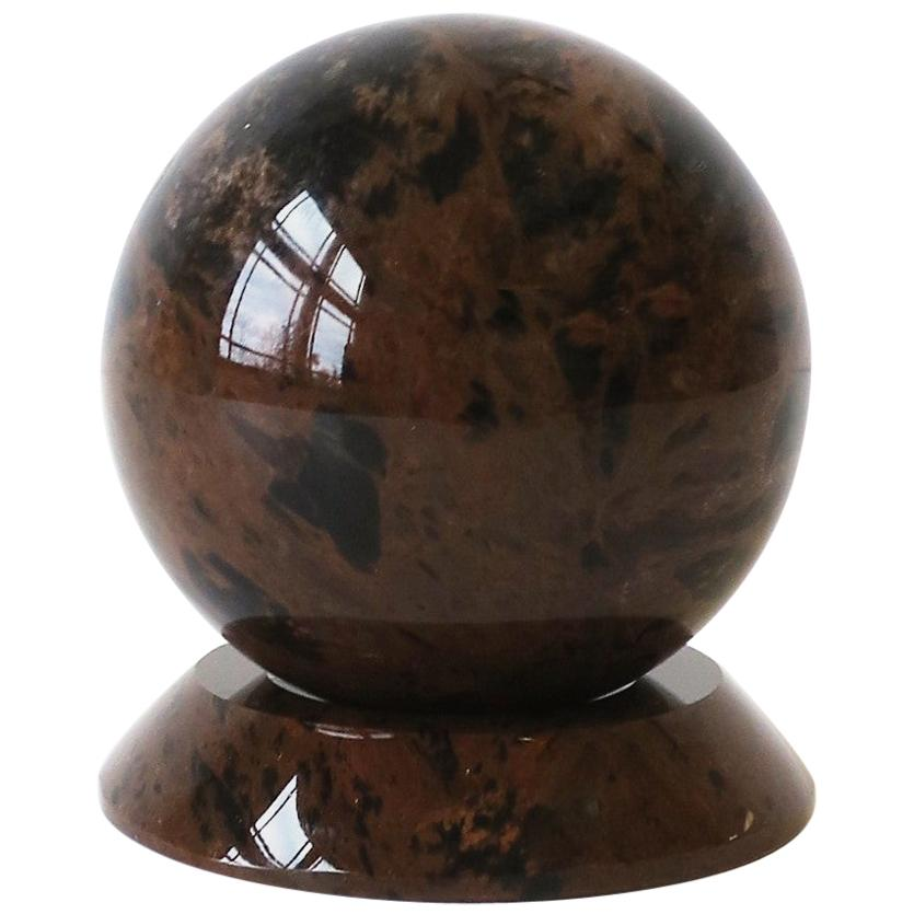 Black Marble Sphere Decorative Object Desk Accessory, 1990s