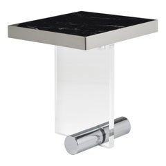 Black Marble Stainless Steel Acrylic Squared Side Table