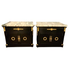 Black Marble-Top Newly Lacquered and Brass Figural Neoclassical Matching Tables