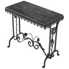Black Marble Top Ornate Wrought Iron Side Console Table