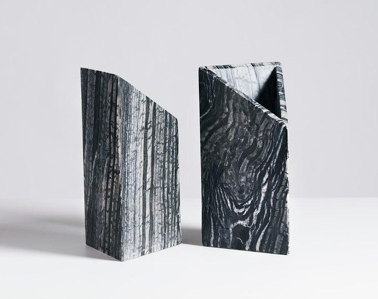 American Black Marble Triad Vase by Phillip Jividen For Sale