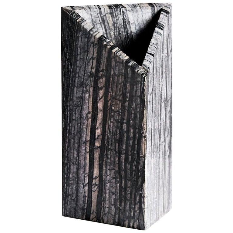 Black Marble Triad Vase by Phillip Jividen For Sale