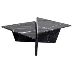 Black Marble Triangle Bi-Level Coffee Table or Pair End Tables Style Up & Up