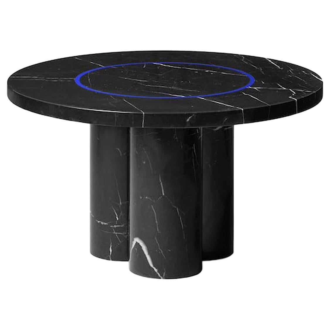 Black Marquina Marble Round Coffee Table from Dislocation by Studio Buzao