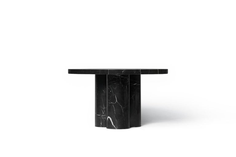 Chinese Black Marquina Marble Round Coffee Table from Dislocation by Studio Buzao For Sale