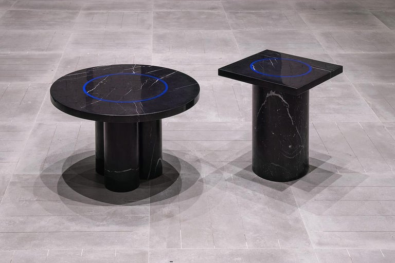 Black Marquina Marble Round Coffee Table from Dislocation by Studio Buzao In New Condition For Sale In Beverly Hills, CA
