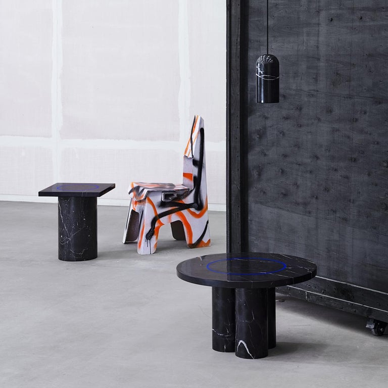 Contemporary Black Marquina Marble Round Side Table by Studio Buzao For Sale