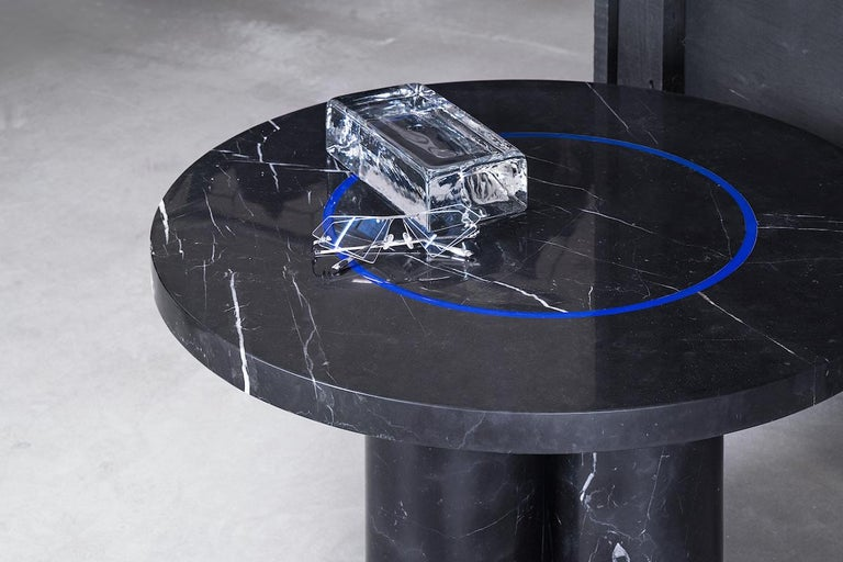 Black Marquina Marble Round Side Table by Studio Buzao For Sale 1