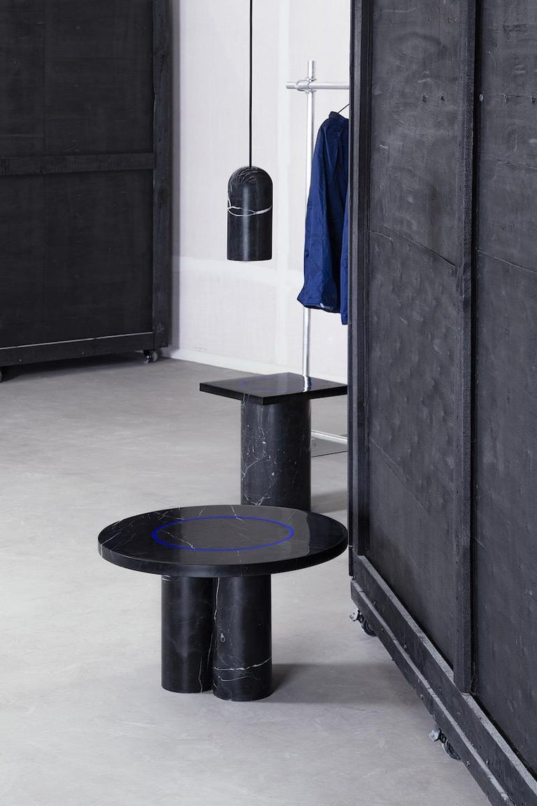 Black Marquina Marble Round Side Table by Studio Buzao For Sale 2