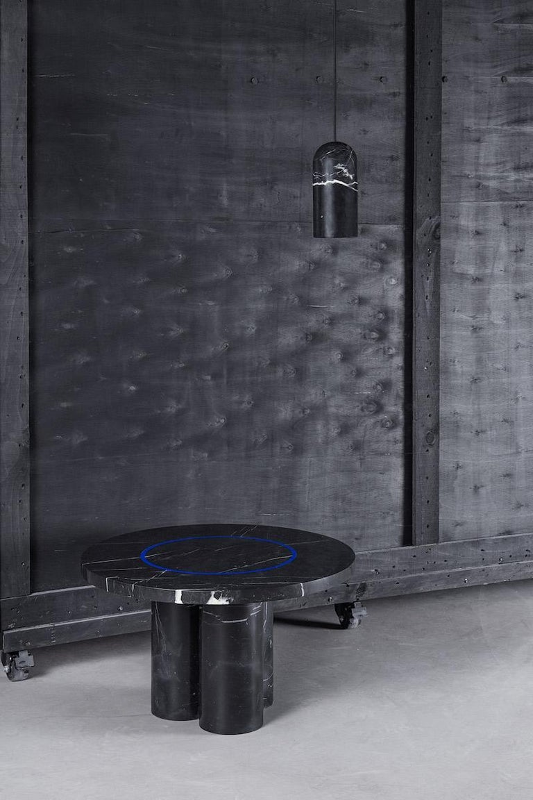 Black Marquina Marble Round Side Table by Studio Buzao For Sale 3