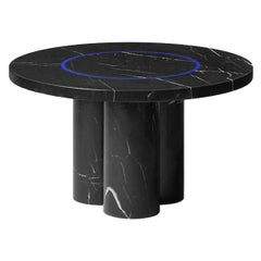 Black Marquina Marble Round Side Table by Studio Buzao