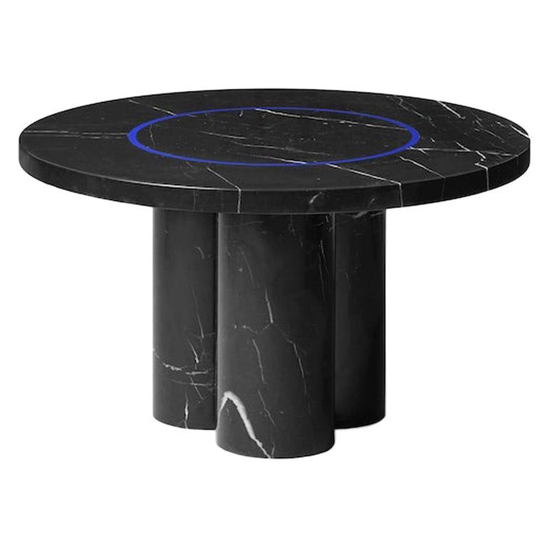 Black Marquina Marble Round Side Table by Studio Buzao For Sale