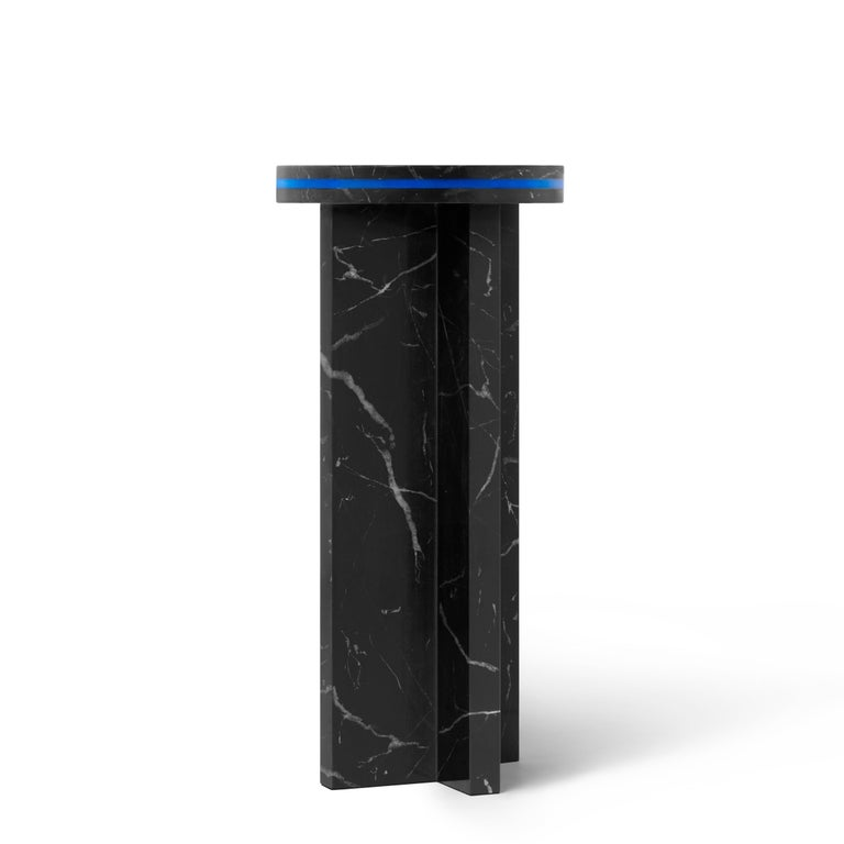 Chinese Black Marquina Marble Round Side Table from Dislocation by Studio Buzao For Sale