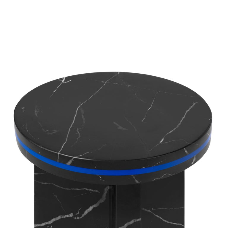 Black Marquina Marble Round Side Table from Dislocation by Studio Buzao In New Condition For Sale In Beverly Hills, CA