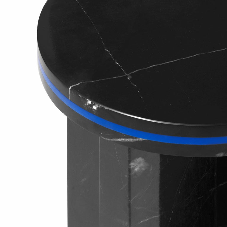 Contemporary Black Marquina Marble Round Side Table from Dislocation by Studio Buzao For Sale