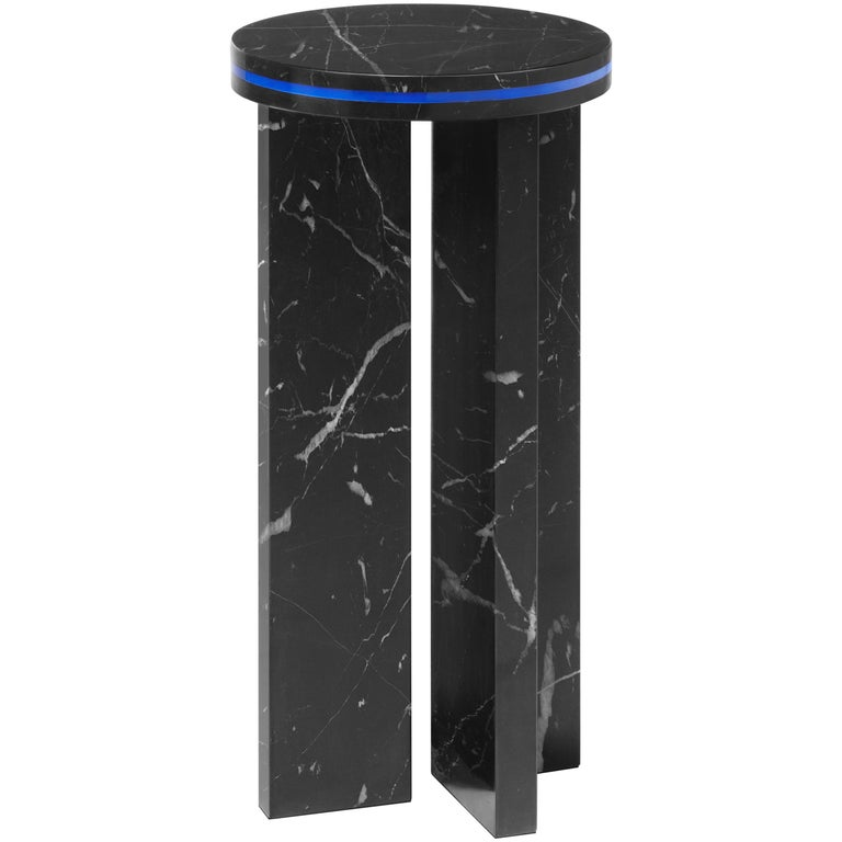 Black Marquina Marble Round Side Table from Dislocation by Studio Buzao For Sale