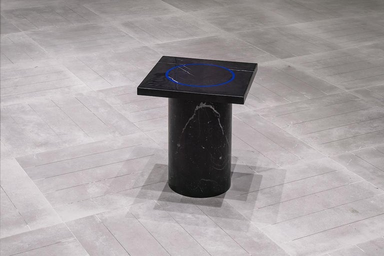 Black Marquina Marble Square Side Table by Studio Buzao For Sale 1