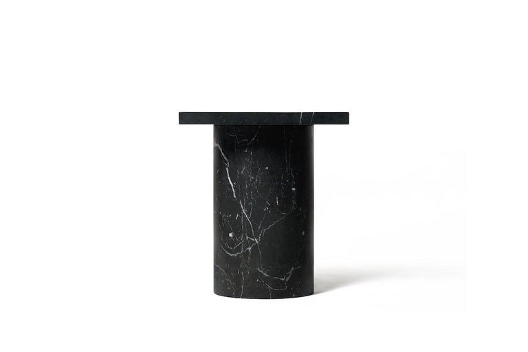 Chinese Black Marquina Marble Square Side Table from Dislocation by Studio Buzao For Sale