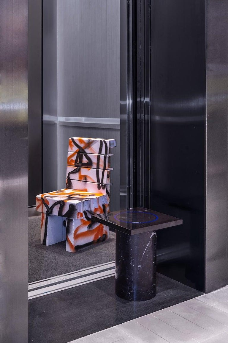 Contemporary Black Marquina Marble Square Side Table from Dislocation by Studio Buzao For Sale