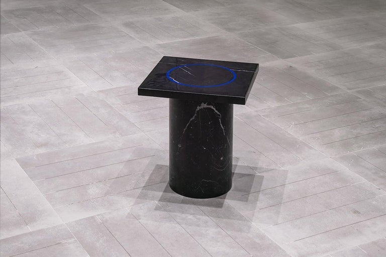 Black Marquina Marble Square Side Table from Dislocation by Studio Buzao For Sale 1