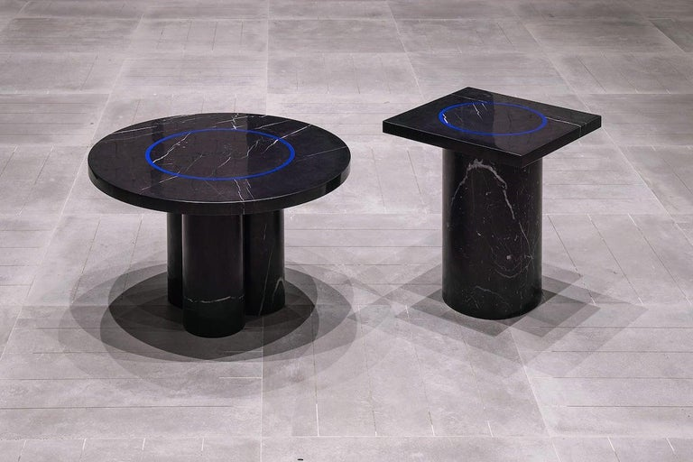 Black Marquina Marble Square Side Table from Dislocation by Studio Buzao For Sale 2