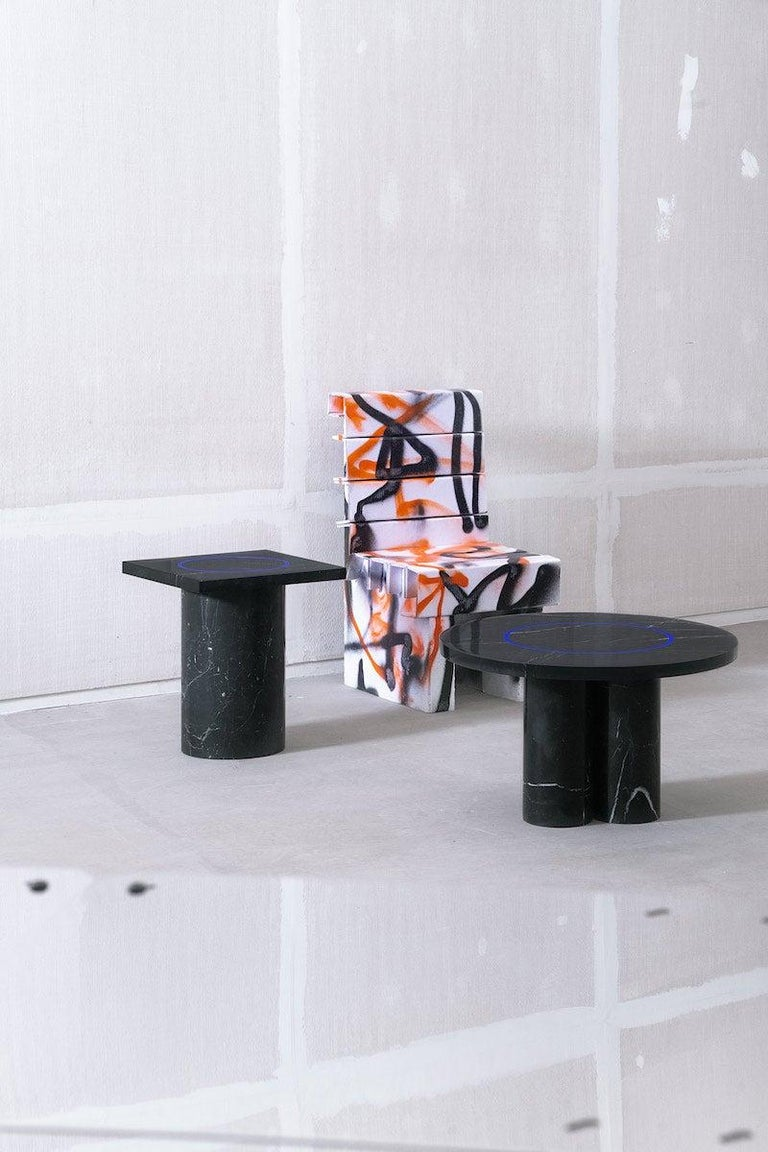 Black Marquina Marble Square Side Table from Dislocation by Studio Buzao For Sale 4