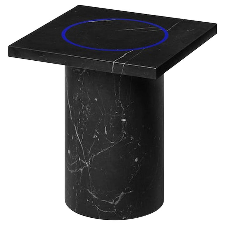 Black Marquina Marble Square Side Table from Dislocation by Studio Buzao For Sale