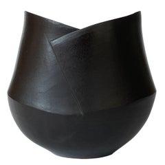 Black Matte Glazed Studio Pottery Ceramic Bowl, Signed