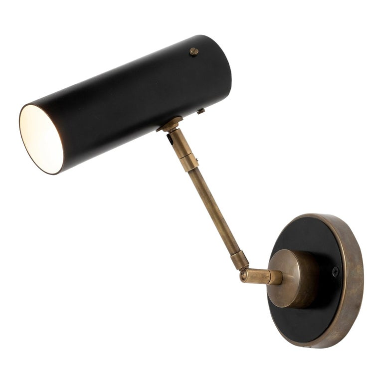Black Metal and Brass Picture Light For Sale