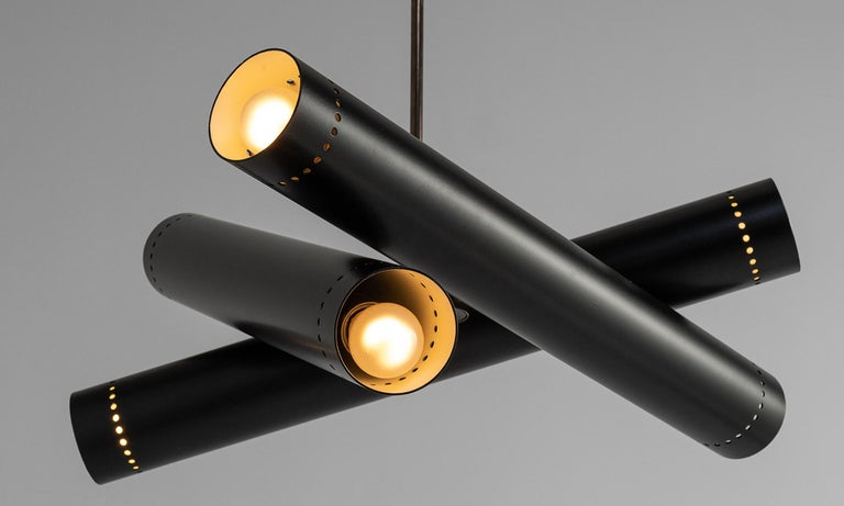 Modern Black Metal and Brass Tubular Chandelier, Italy, 21st Century For Sale