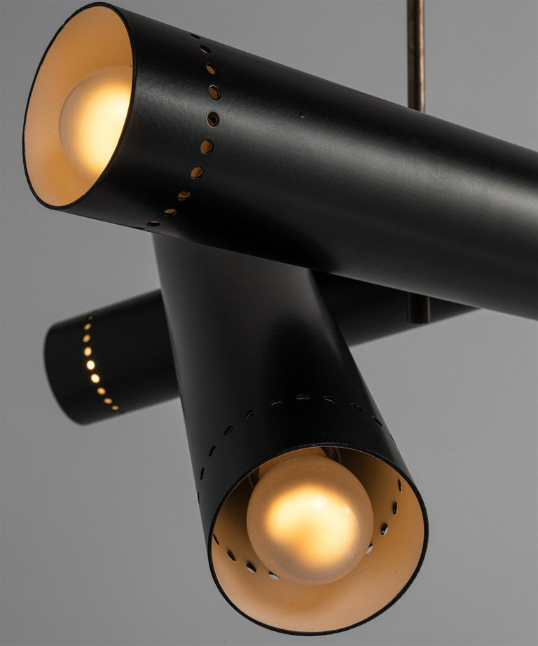 Contemporary Black Metal and Brass Tubular Chandelier, Italy, 21st Century For Sale