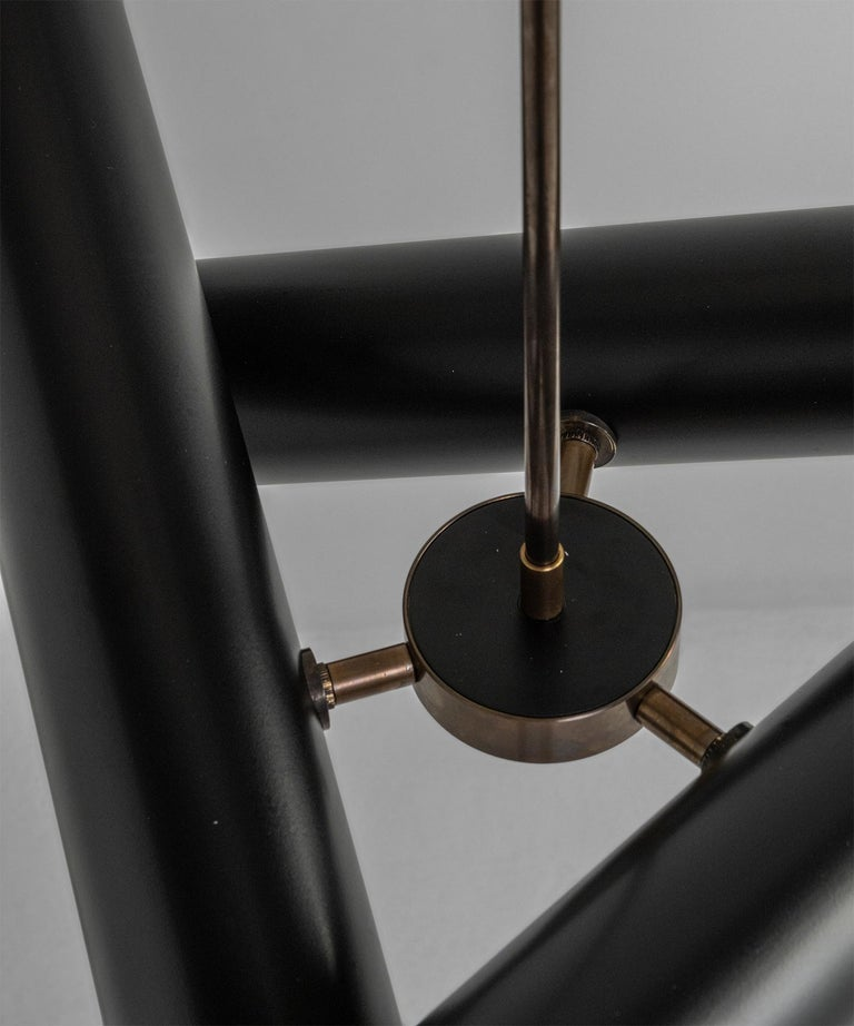 Black Metal and Brass Tubular Chandelier, Italy, 21st Century For Sale 1