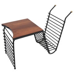 Black Metal and Brazilian Jacaranda 1960s Side Table and Magazine Rack