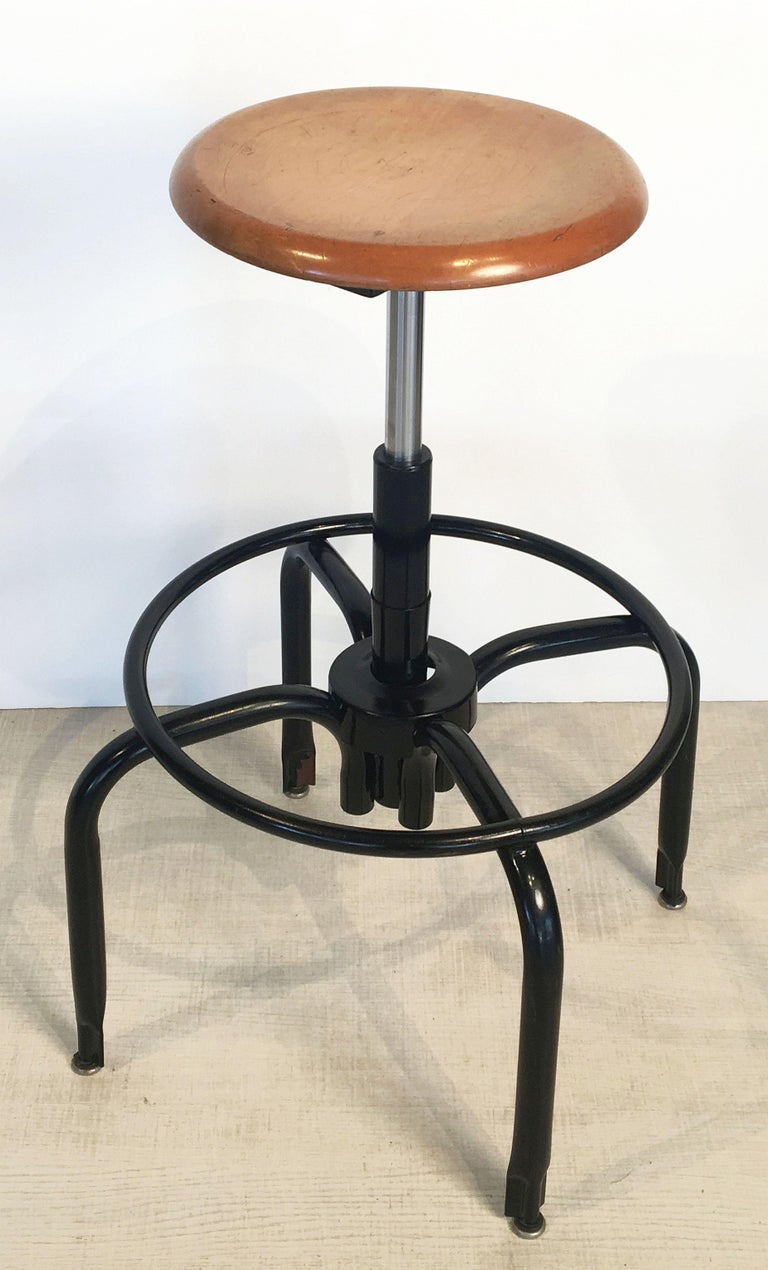 Black Metal And Chrome Bar Stools With Round Wood Seats