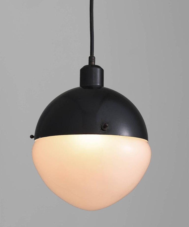 Modern Black Metal & Frosted Glass Pendant, Italy, 21st century For Sale