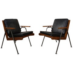 Black Metal and Oak Pair of Armchairs Vintage Style